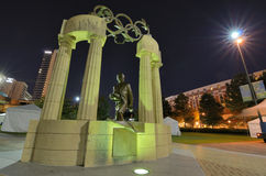 Founder of Modern Day Olympics. Pierre de Coubertin commemorative statue at Centennial Olympic Park in Atlanta, GA. Coubertin is considered founder of the modern Royalty Free Stock Photography