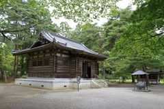 Founder`s hall of Motsu temple in Hiraizumi. Iwate, Japan stock images