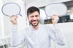 Founder with speech bubbles Royalty Free Stock Photography