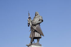 The founder of Valladolid. Statue of Count Ansurez, founder of the city, in the Plaza Mayor of Valladolid Stock Photo