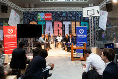 Founders Fight club conference, live stage conference on exhibition Cebit 2017 in Hannover Messe, Germany Stock Photo