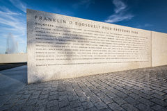 Founders Wall at Franklin D. Roosevelt Four Freedoms Park on Roo Stock Images