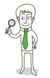 Founding. Man founding with a lens royalty free illustration