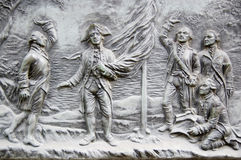 Founding of Australia plaque. Historic bronze plaque commemorating the discovery of Sydney and the founding of Australia in 1788. Right to left: Surgeon J. White royalty free stock image