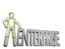 Founding an enterprise. An illustrated person standing beside the word enterprise stock illustration