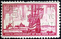 Founding of New York City by the Dutch. United States postage stamp commemorating the founding of New York City by the Dutch stock images