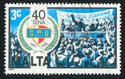 Founding Rally. MALTA - CIRCA 1983: stamp printed by Malta, shows Founding Rally, circa 1983 royalty free stock photos