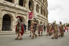 The founding of Rome: parade through the streets of Rome. The founding of Rome: the Circus Maximus reenactments, music activities. fashion show at the Colosseum stock photography