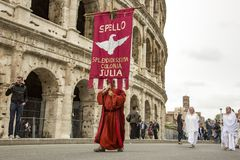 The founding of Rome: parade through the streets of Rome. The founding of Rome: the Circus Maximus reenactments, music activities. fashion show at the Colosseum stock photo