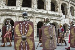 The founding of Rome: parade through the streets of Rome. The founding of Rome: the Circus Maximus reenactments, music activities. fashion show at the Colosseum stock images