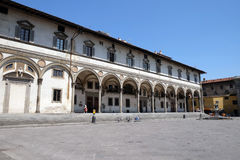 Foundling Hospital designed by Brunelleschi in Piazza SS. Annunziata, Florence, Stock Photos
