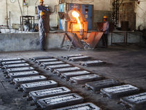 Foundry or casting. A view of foundry or casting unit - casting is a manufacturing process in which a liquid material is usually poured into a mold, which Royalty Free Stock Image