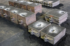 Foundry, sand molded casting. Molding flasks Stock Photography