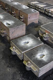 Foundry, sand molded casting. Molding flasks Royalty Free Stock Photo