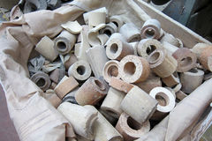 Foundry, sand molded casting. Core tube for molded casting in foundry factory Royalty Free Stock Photos