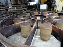 Foundry, sand molded casting. Molding flasks Stock Photos