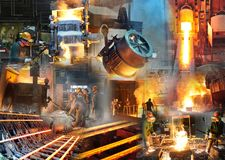 Foundry and steelworks - steel production and processing workers. Collage stock photo