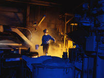 Foundry and Worker. Shot for a melt shop in LA Royalty Free Stock Photos