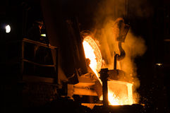 Foundry Worker Watching Hot Liquid Metal Flow Royalty Free Stock Photos