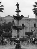 Fount in church square in Arequipa, Peru. Fountain in church square with palm trees, people and birds in Arequipa, Peru. black and white Stock Photos