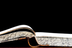 Fount of knowledge. Detail of the open old book - a fount of knowledge Stock Photo