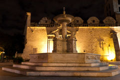 Fount at the Square of San Francisco in Old Havana. An ancient fountain at the Square of San Francisco in Old Havana at night Stock Image