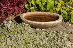 Fount. Stone fountain in outdoor garden Stock Photo