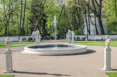 Fountain in Łazienki Park Stock Images