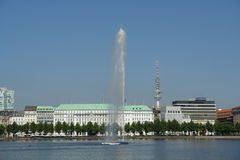 Fountain. At Alster lake, Hamburg, Germany royalty free stock photo