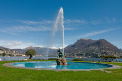 Fountain. Water fountain in Lugano, Ticino Royalty Free Stock Images