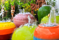 Fountain. In the garden (Ceramic pottery Royalty Free Stock Photo