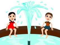 Beside a fountain. Two cute cartoon kids enjoying sitting beside a fountain Royalty Free Stock Photos