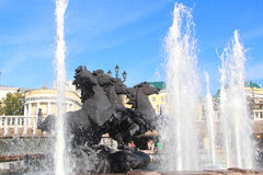 Fountain. In the form of four horses on Manezhnaya square, Moscow Stock Photos