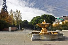 Fountain. On the one of the squares in madrid Stock Photography
