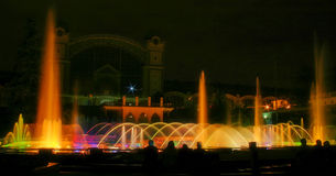 Fountain. Singing fountains - famous water show in Prague, Czech Republic Royalty Free Stock Photography