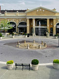 Fountain. Town square fountain with restaurant in background Stock Photo