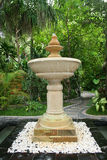 Fountain. In tropical park with beautiful plants Royalty Free Stock Image