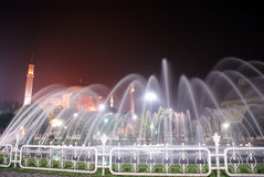 Fountain. Hagya Sophya night and fountain in Istanbul royalty free stock images