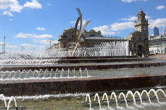 Fountain The abduction of Europe, Moscow, Russia. MOSCOW, RUSSIA - JULY 25, 2015: Fountain The abduction of Europe in the center of Russia's capital Stock Photos