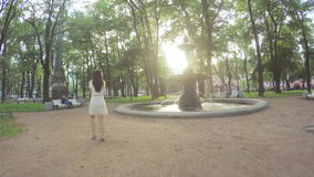 Fountain in the Academic park in St Petersburg stock video footage