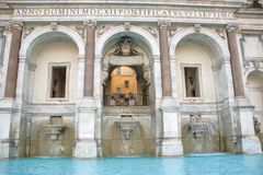 Fountain on Gianicolo known as fontanone. The fountain of acqua Paola, known as Fontanone on Gianicolo hill, Rome Italy Royalty Free Stock Photos