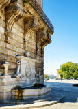 Fountain adjacent to the building in Porto, Portugal. Royalty Free Stock Photos