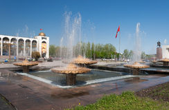 Fountain on Ala-Too Square. BISHKEK, KYRGYZSTAN - MAY 02, 2014:  Fountain on Ala-Too Square. Bishkek formerly  Frunze, is the capital and the largest city of the Stock Photo