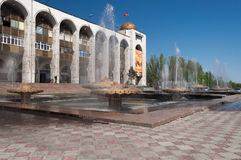 Fountain on Ala-Too Square. BISHKEK, KYRGYZSTAN - MAY 02, 2014:  Fountain on Ala-Too Square. Bishkek formerly  Frunze, is the capital and the largest city of the Stock Images
