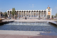 Fountain on Ala-Too Square. BISHKEK, KYRGYZSTAN - MAY 02, 2014:  Fountain on Ala-Too Square. Bishkek formerly  Frunze, is the capital and the largest city of the Royalty Free Stock Photography