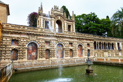 Fountain Alcazar Royal Palace Seville Spain Stock Photos