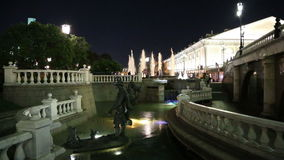 Fountain in the Alexander Gardens--was one of the first urban public parks inMoscow,Russia (night) stock video