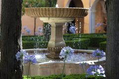 Fountain in Alhambra stock images