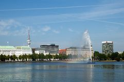 Fountain at Alster lake, Hamburg, Royalty Free Stock Photography