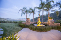 Fountain and amazing views from San Diego home. Outdoors in Southern California homes ready for real estate listings Stock Images
